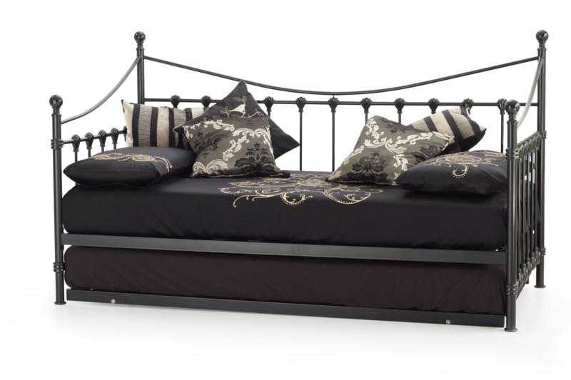 Serene Marseilles Black Metal Frame Day Bed with guest bed
